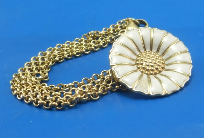 Georg Jensen Daisy gold plated silver bracelet with white enamel