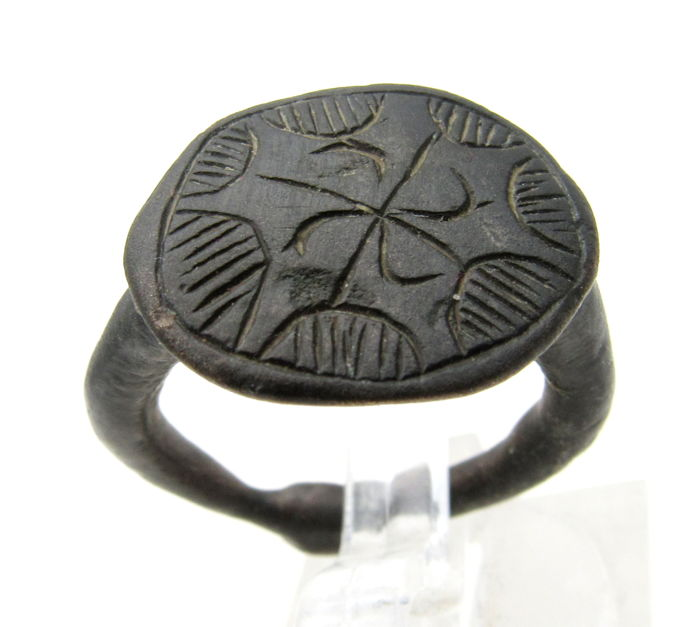 Early Medieval Viking Era Bronze Ring with Runic Swastika on Bezel - 17mm
