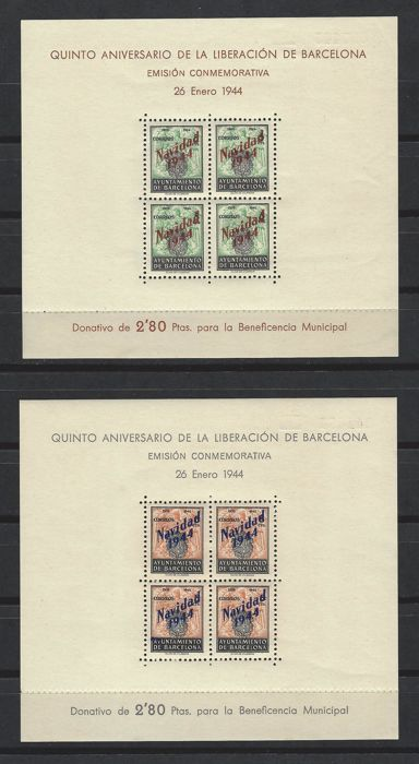 Barcelona 1944 - Barcelona city council, uncirculated block sheets - Edifil NE 25/26