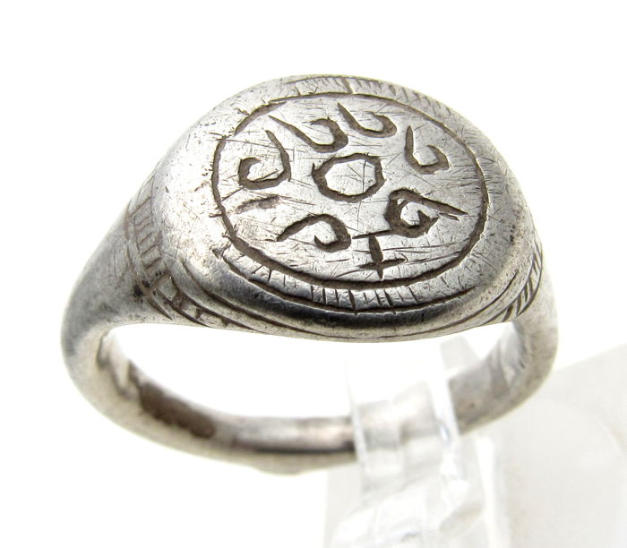 Medieval Viking Era Silver Warrior's Ring with Sun & Runic Script on Bezel - 17 mm