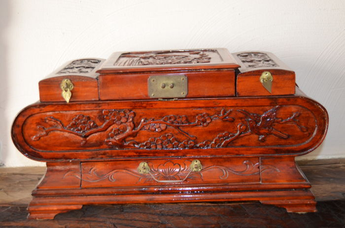 Large Asian Hand Carved Wooden Jewellery Box With Mirror And