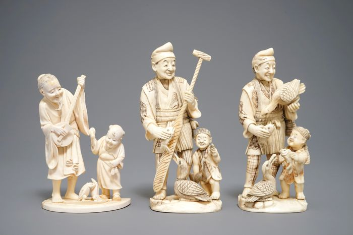 Three large ivory Okimonos, marked - Japan - 19th century and early 20th century (Meiji period)