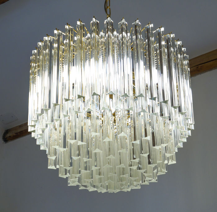 Alberto Donà (Murano) - Chandelier with crystal trihedrons