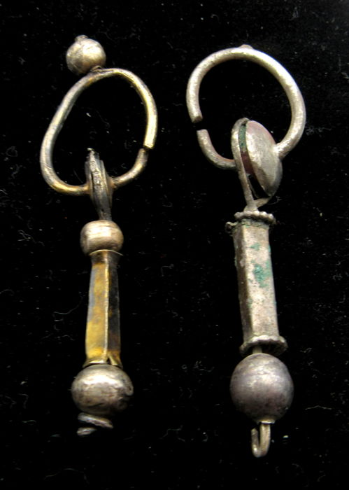 Pair of Medieval Viking Period Decorated Silver Earrings - 53-54mm (2)