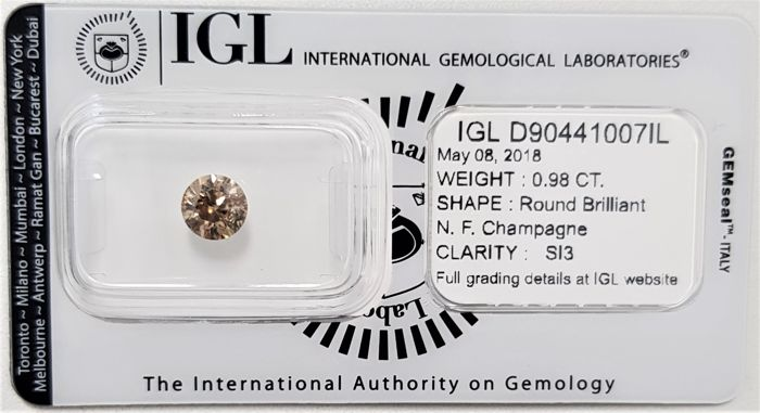 0.98 ct - Natural Fancy Diamond - Champagne Color - SI3 - 3VG - No Reserve!