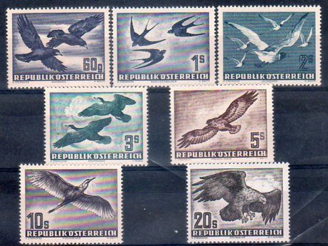 Austria, 1950 - Birds in flight - Yvert A54/A60