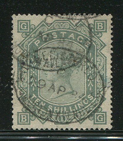 Great Britain 1867/83 - Queen Victoria 10 Shilling greenish green - Stanley Gibbons 135 watermark Anchor