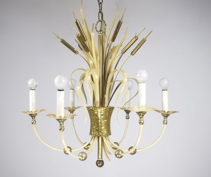 Unknown designer - Chandelier with bulrush decorations