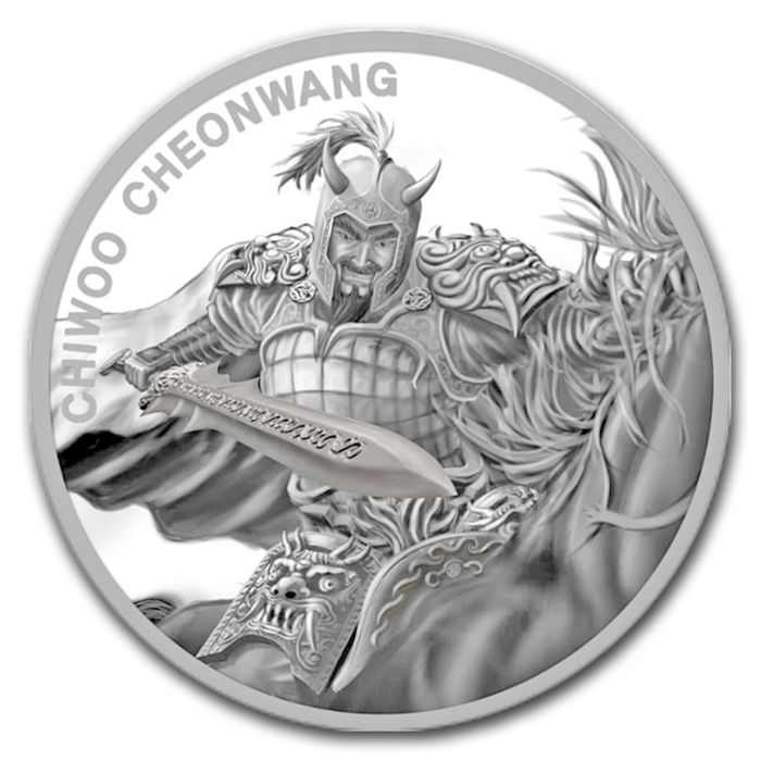 South Korea - 1 clay 2018 'Chiwoo Cheonwang' Warrior - 1 oz 999 silver