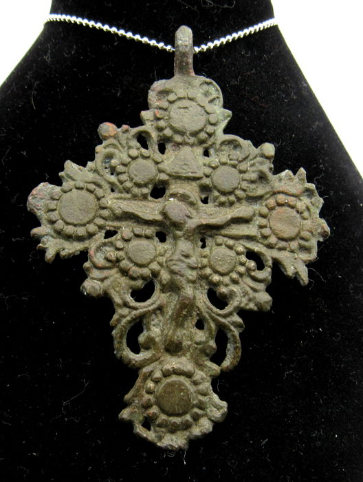 Crusaders Open-Work Cross Pendant with Jesus on the Tree of Life - Free Necklace - 70x49mm