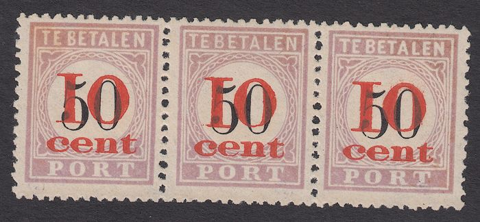 Suriname 1911 - Portzegels, type I, II en III - NVPH P16 in strip van drie