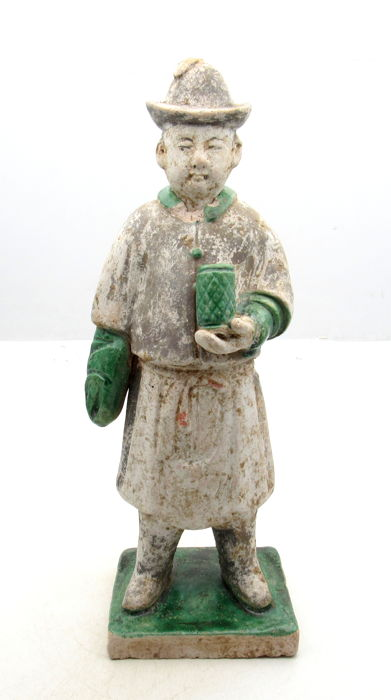 Ancient Chinese Ming Dynasty Attendant Terracotta Statue - 255 x 84mm