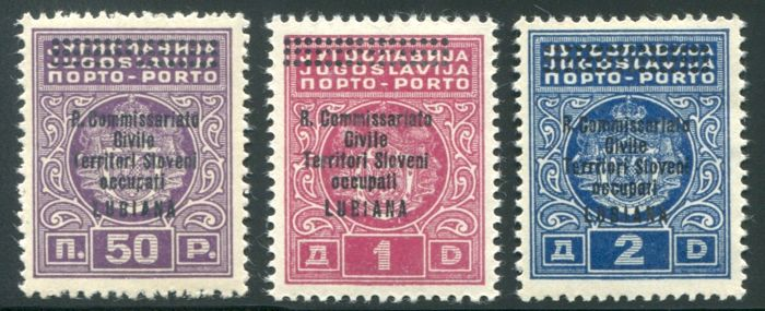 Ljubljana 1941 - Postage Due complete series of 3 overprinted stamps - Sass.  Taxes Nos  11/13