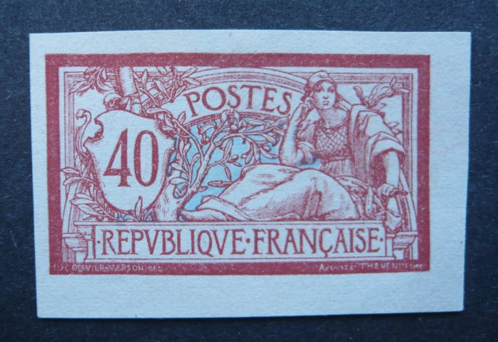 France 1900 - 40c Merson red and blue - Imperforate - Signed Scheller - Yvert no 119a