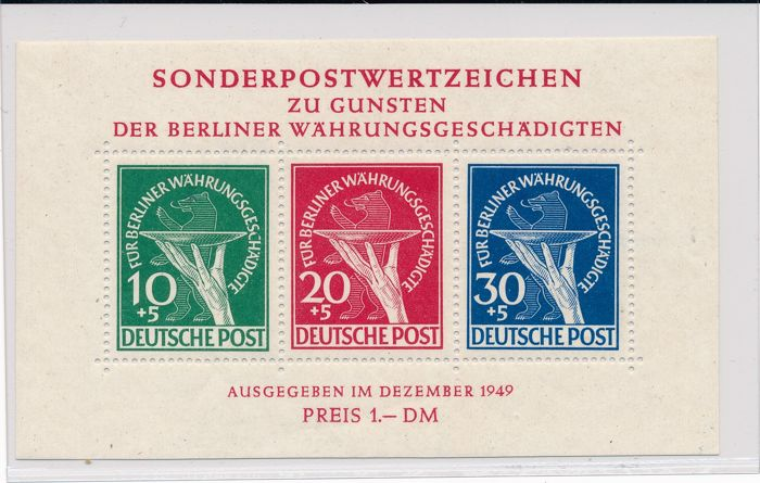 "Berlin - 1949 - ""zu Gunsten der Währungsgeschädigten in Blockform"" (in favour of the currency victims) in block form"" with both plate errors - Michel block 1 II and photo certificate Schlegel BPP"