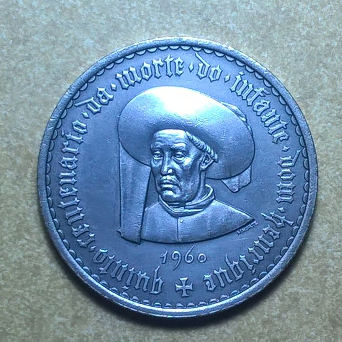 Portugal Republic - 20 Escudos - Infante D. Henrique - 1960 - Mate Colour - Silver - Scarce