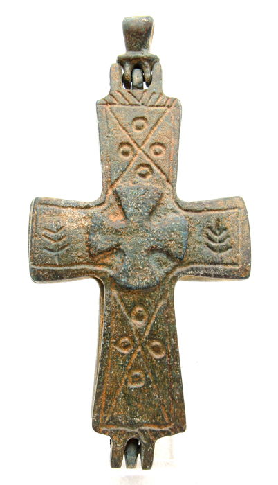 Crusaders Period - Hospitalier Holy Land - Reliquary Cross Pendant with Jesus Christ & Maltese - 104x50mm