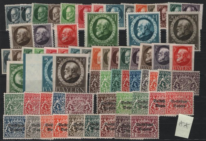 Bavaria - 1910-1920 - batch of complete MNH sets Kingdom and official stamps