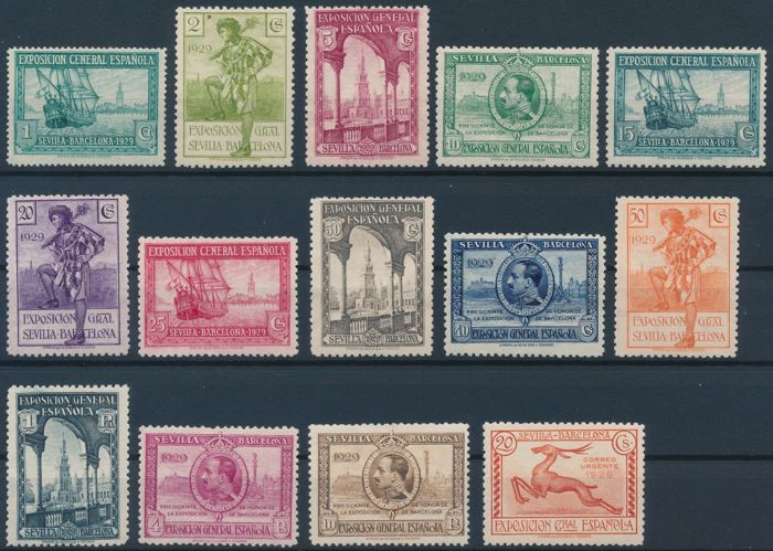 Spain 1929/1954 - Batch of stamps - Edifil 434/447 and a card of the 1940s/1950s