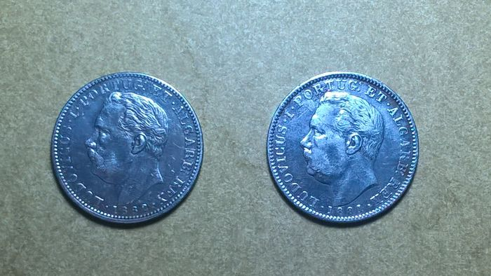 India - Portugal, Monarchy - Luís (1861-1889) - 1 Rupia - 1881 & 1882 - Silver