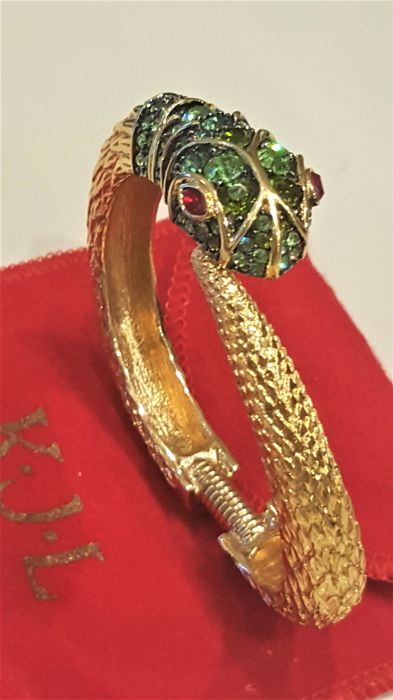 Kenneth Jay Lane - 18kt gold plated Snake crystal Bracelet