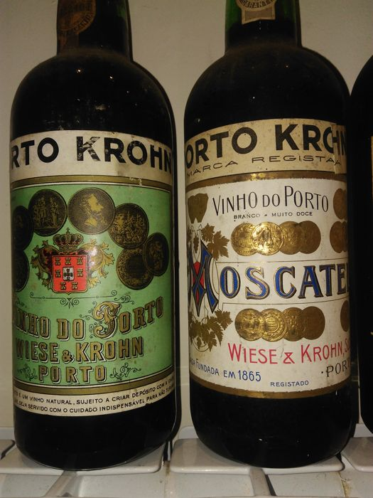 Krohn: Port Wine & Moscatel - 2 old bottles