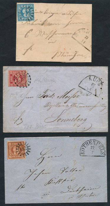 Bavaria - 1862 - value numeral in closed circle, batch of 3 letters with 3 and 6 Kreuzer, Michel 2, 4 and 9
