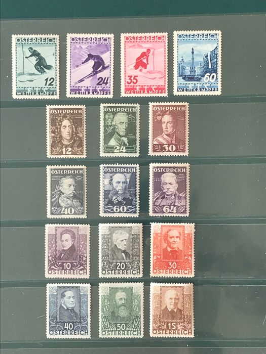 Austria 1931/1936 - selection with three complete series including FIS - Michel 524/626