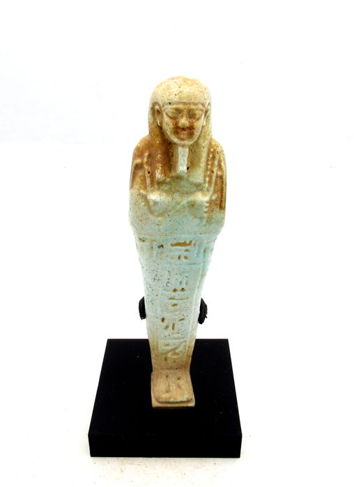 Ancient Egyptian Faience Ushabti Figure with T Inscription for a priest - 130mm
