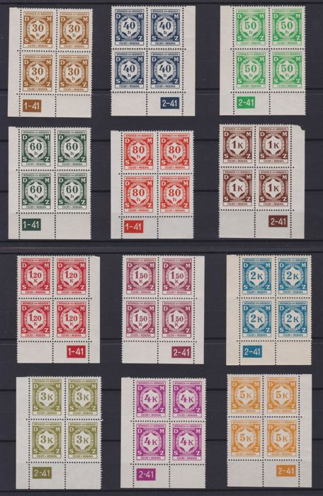 Bohemia and Moravia 1941 - Service DMSZ in blocks of 4 with plate number