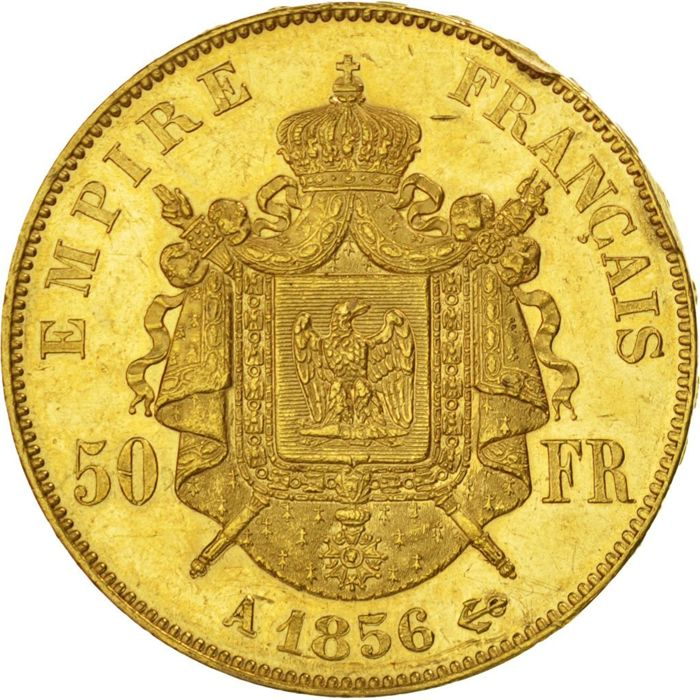 France - 50 Francs, 1856, Paris - Napoleon III - Gold