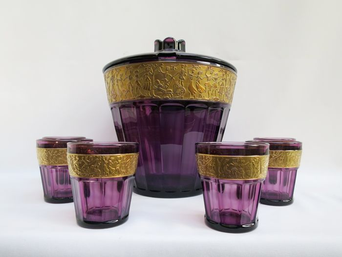 Walther glass - Amethyst glass Art Deco bowl set