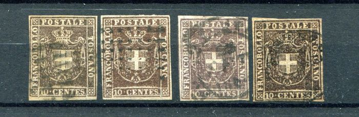 Tuscany 1860 - Lot of four 10 Cent. stamps in different shades of colour - Sass.  No  19