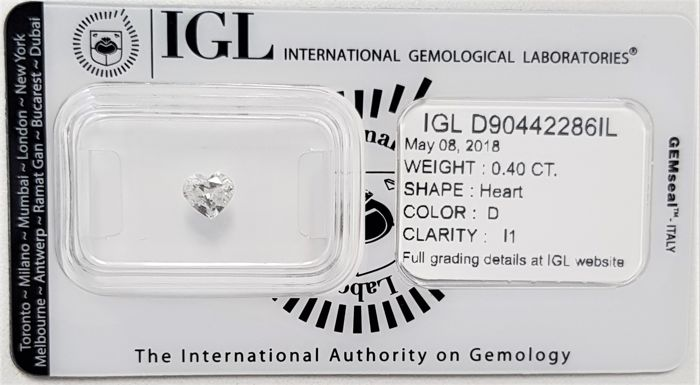 0.40 ct - Natural Heart Shape White Diamond - D Color - I1 - No Reserve!