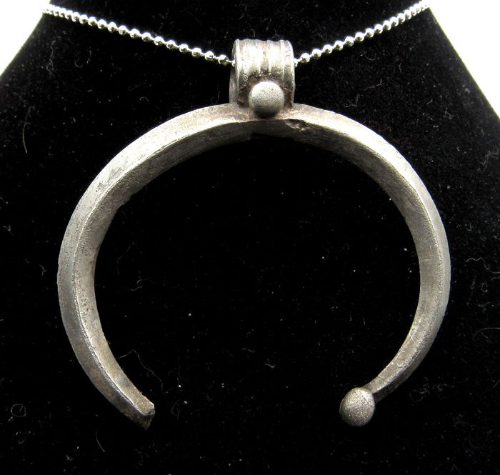 Medieval Viking period Silver Lunar Pendant - Wearable - 40 mm