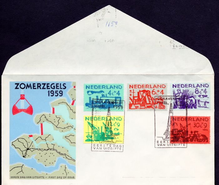 The Netherlands 1959 - FDC NVPH no. E38 with plate error 'Mast 726PM4' with Kurz befund by H. Vleeming