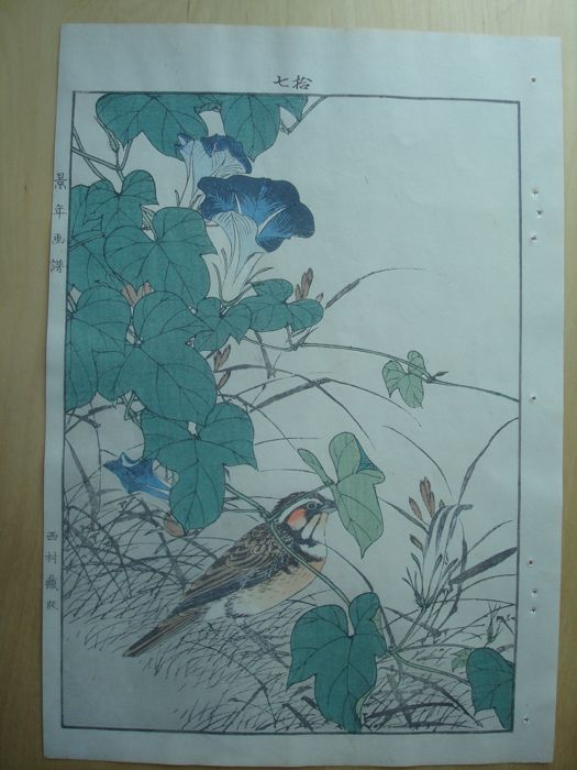 "Original woodblock print by Imao Keinen (1845-1923) - 'Bunting and morning glory' from ""Keinen kacho gafu"" - Japan - 1891"