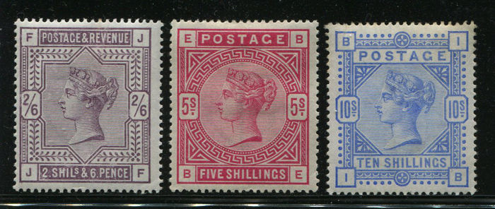 Great Britain 1883/1884 - Queen Victoria 2/6, 5/- and 10/-, complete set of three, mint