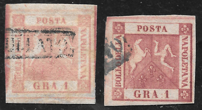 Naples 1858 - Lot composed of  1 grana and print number II,  5 grana print number II and   10 grana print number I