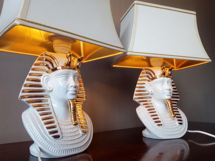 Maker Unknown - Pair Pharaoh Lamps