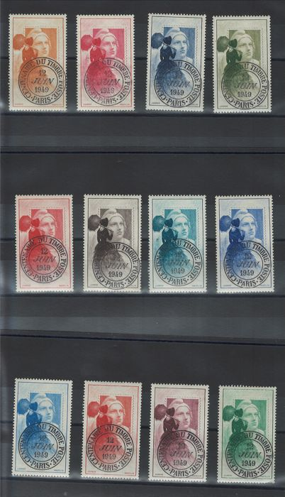France 1949 - Series of vignettes from the Stamp Centennial Exhibition