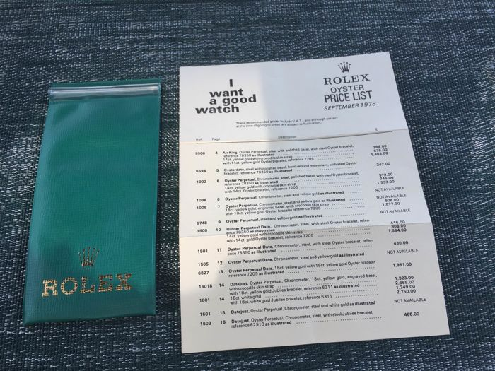 2 Rolex items: Price List 1978 and Travel Pouch 1970's