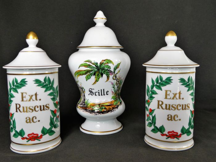 Limoges - Three nice decorated (apothecary) lidded pots