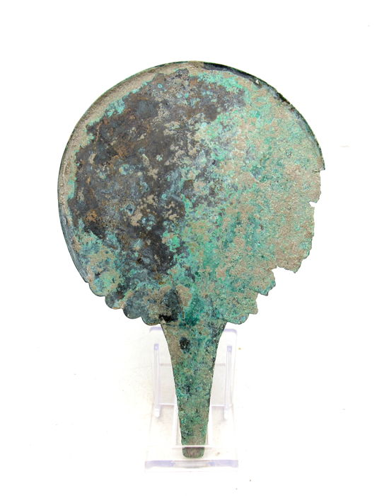 Rare Ancient Roman bronze mirror with handle - 185 mm