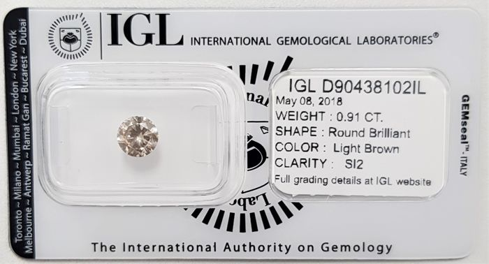 0.91 ct - Natural Light Brown Diamond - SI2 - 3VG - No Reserve!