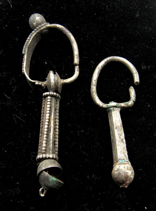 Pair of Medieval Viking Period Decorated Silver Earrings - 40-56mm (2)