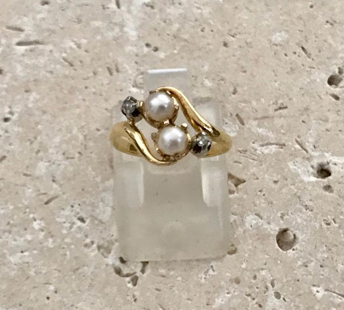 18 kt yellow gold antique you and me ring set with natural pearls and rose cut diamonds period late 19th century
