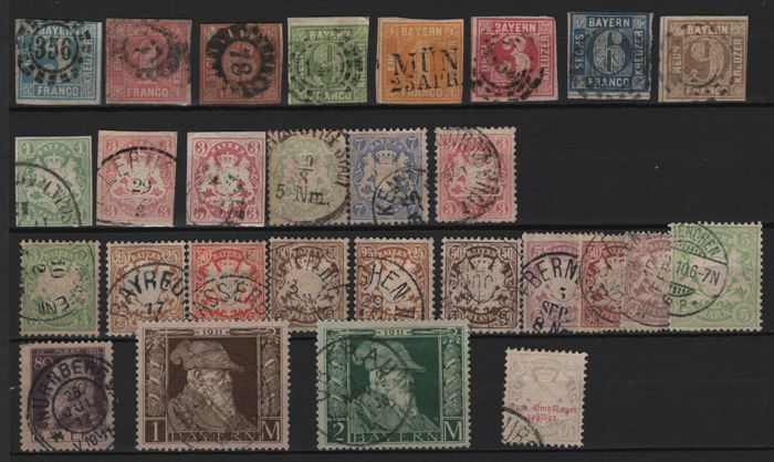 Bavaria - 1850-1911 - batch of 29 stamps, also includes square issues