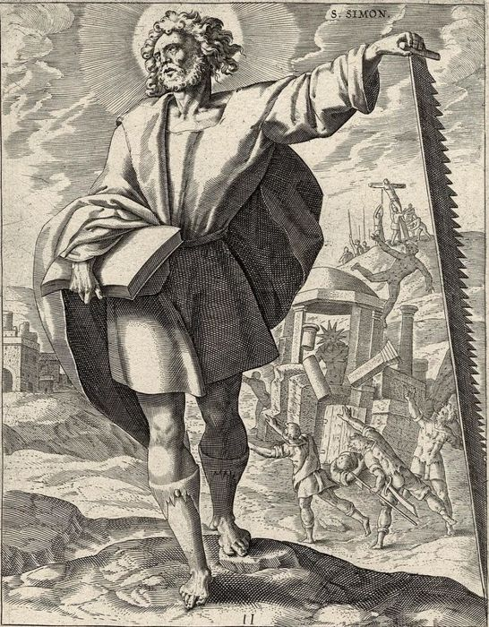 Ambrosius Francken after, Anthony Wierix, 1585 - Apostle Simon Zelotes