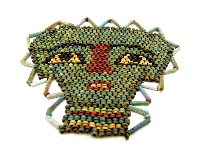 Ancient Egyptian Beaded Mummy Mask - 125 x 100 mm